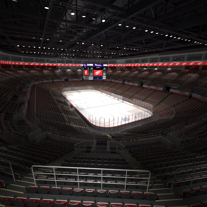 joe louis hockey arena 3d model