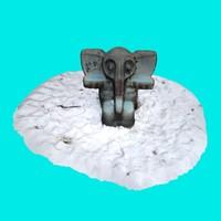 3d obj elephant playground - winter