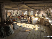 cabin captain s pirate ship 3d model