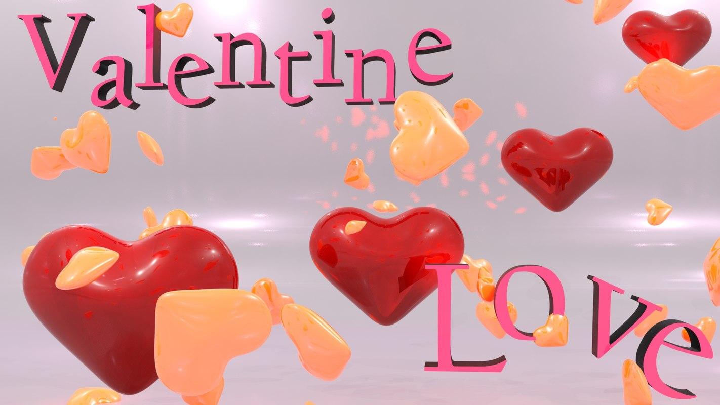3d valentine hearts rendering