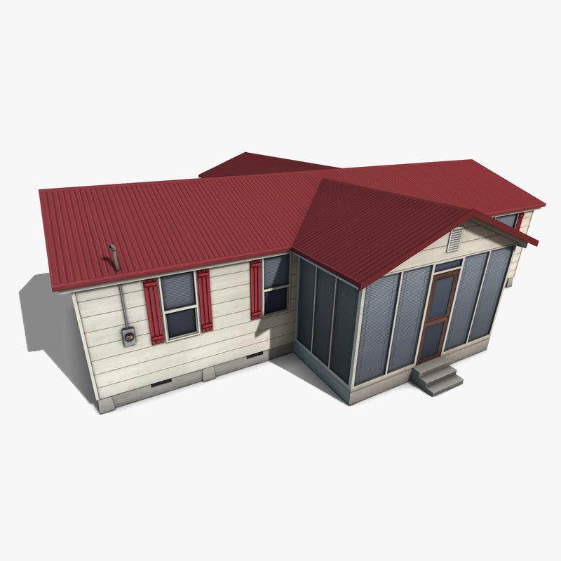 3d model suburban family house