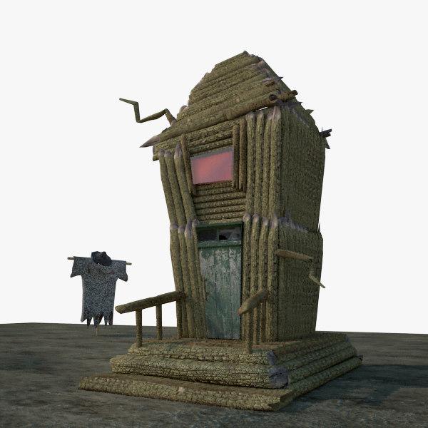 3d small horror house model