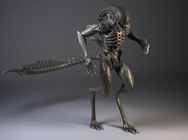 3d model rigged alien xenomorph