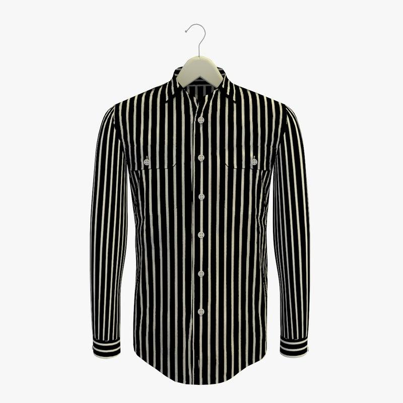 stripe black shirt hanger 3d 3ds