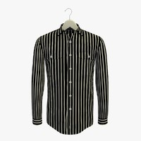 stripe black shirt hanger 3d 3ds