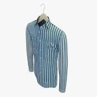 3d model stripe blue shirt hanger