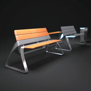 3ds max metro-bench