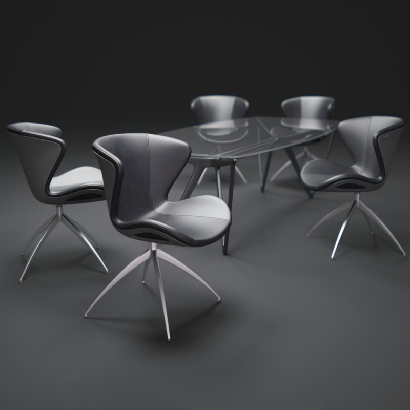 benz-style-chairs-and-table 3d obj
