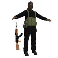 taliban soldier ak47 3d max