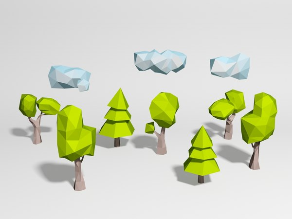 3d model 5 trees 3