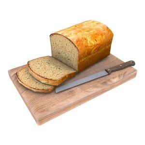 bread loaf cutting 3d model