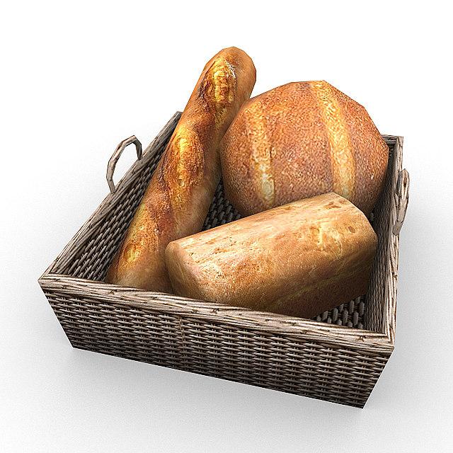 3d bread loaf baguette model