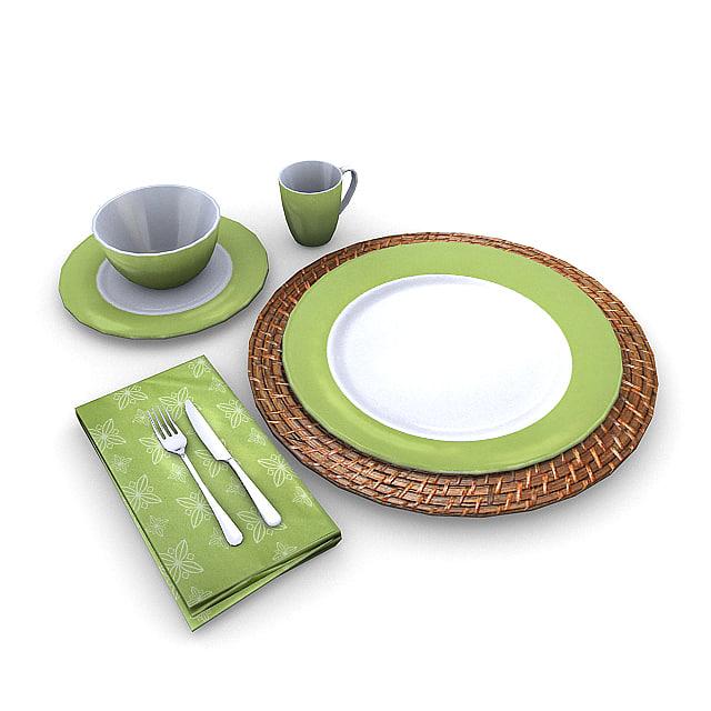 3d tableware plate bowl model