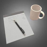 Desk paper pad and cup