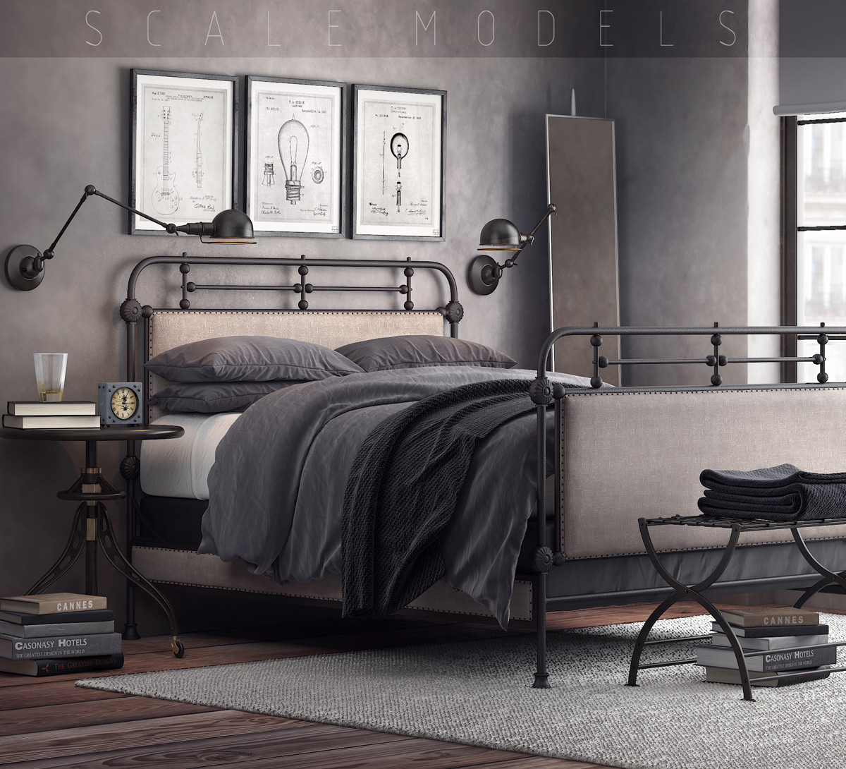20th-century french bedroom 3d model