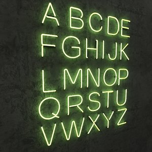 neon alphabet 3d max