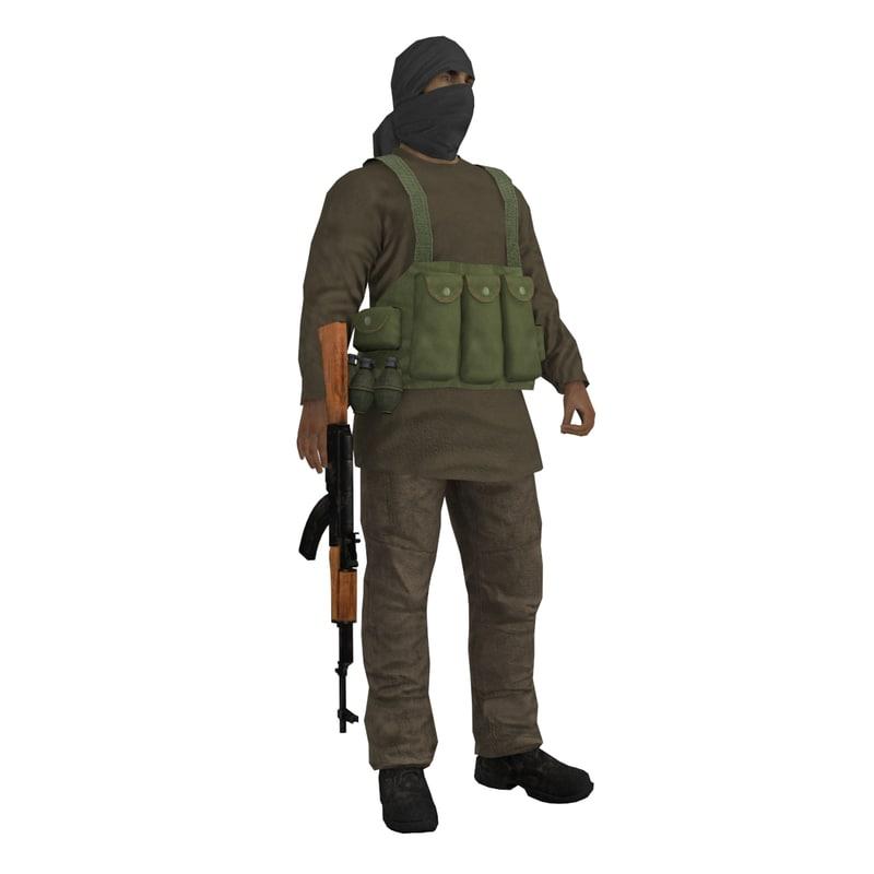 rigged taliban 3d model