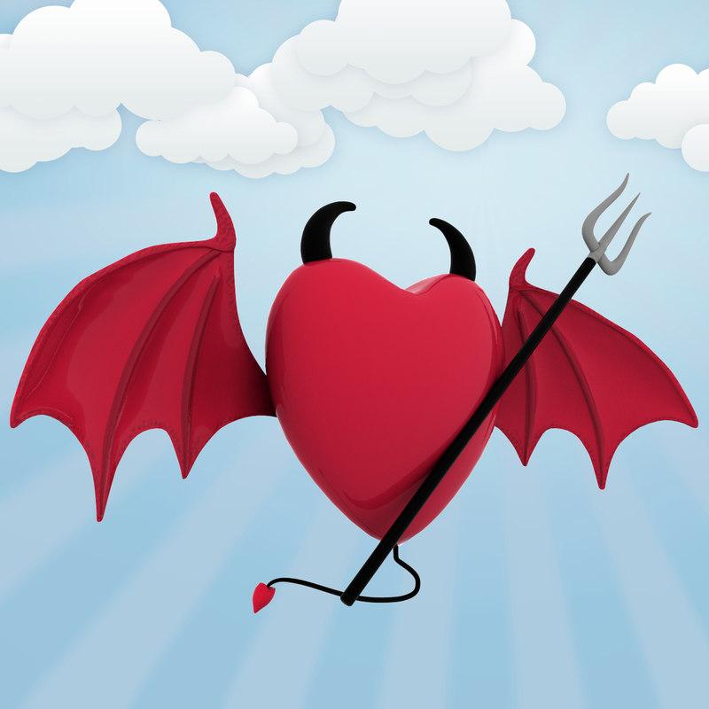 3d heart wings