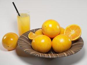 3d model oranges bowl juice