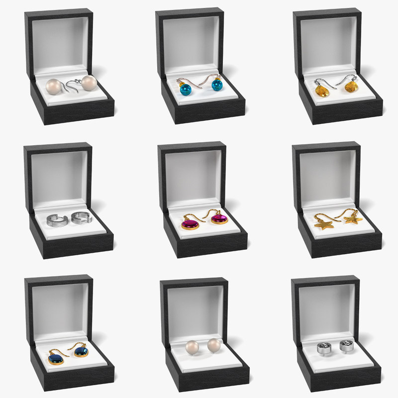 3d model earrings boxes