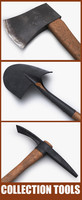 ax pickaxe shovel