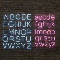 Neon alphabet upper and lower case