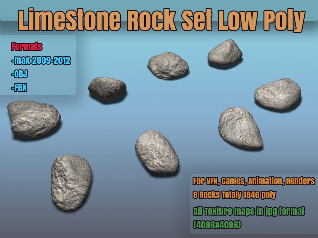 3d model hi set rocks