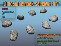 Lime Stone Rock Set LowPoly