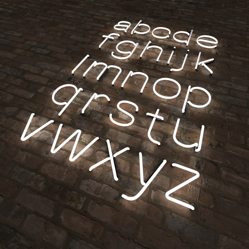 3d neon alphabet letters lower