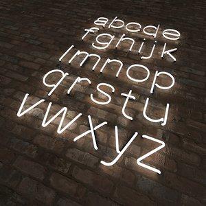 3d neon alphabet letters lower