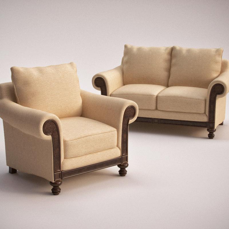 hooker furniture windward loveseat 3ds