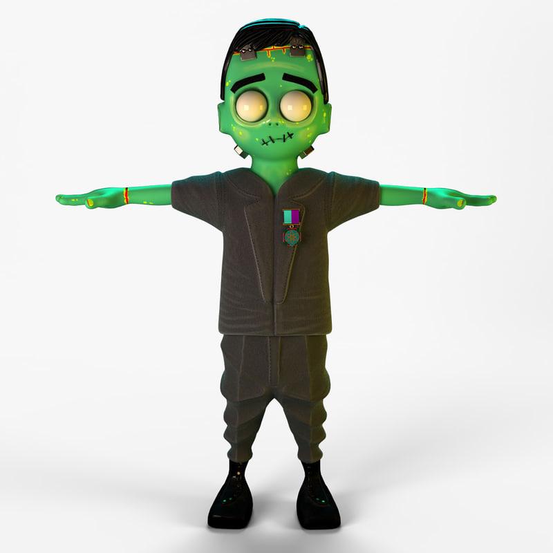 3d model cartoony frankenstein s monster
