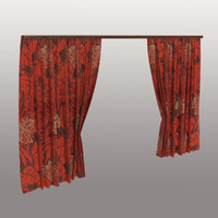Red curtains with floral print