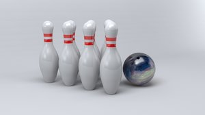 bowling pins ball scale 3d 3ds