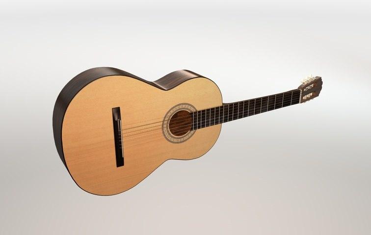 classic guitar 3d dxf