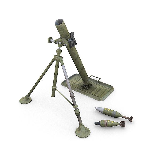 3d model war m1 81mm mortar
