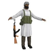 mujahideen ak47 soldier 3d obj
