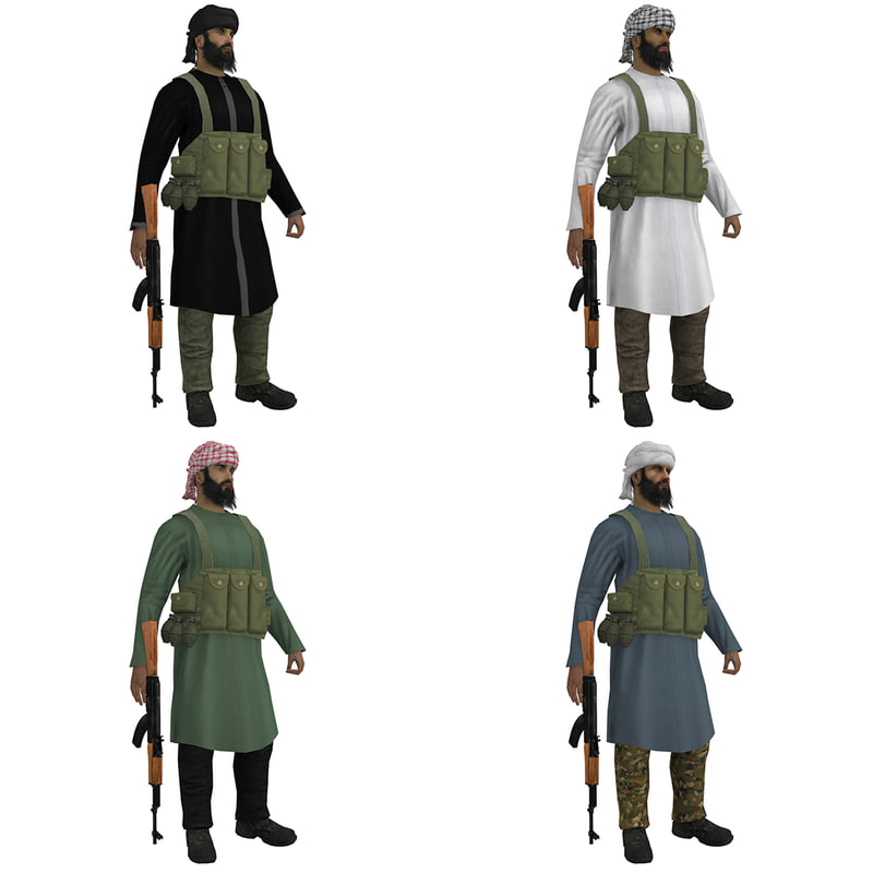 3d pack rigged mujahideen model