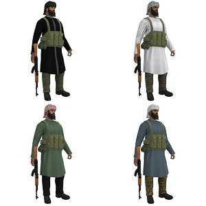3d pack rigged mujahideen model