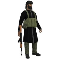 3d model mujahideen rigged