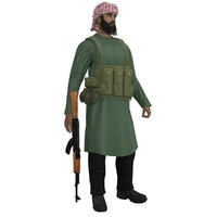 3d mujahideen rigged model