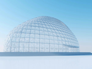 3d dome exhibition hall architectural