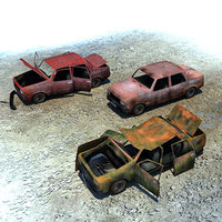 ready wrecked car 3d max