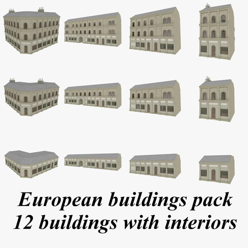 european buildings interiors 3d 3ds