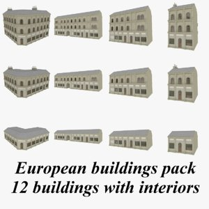 european buildings interiors 3d 3ds