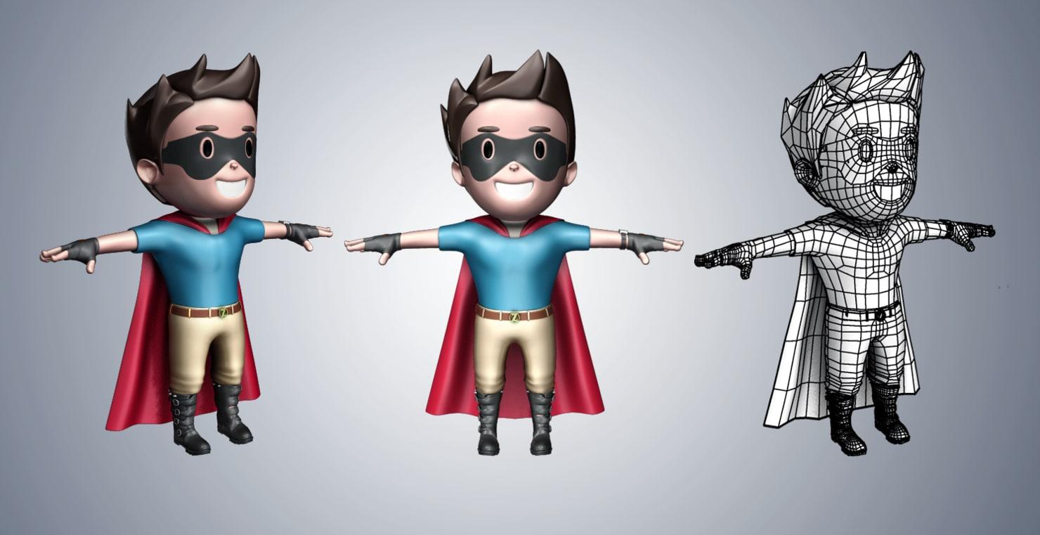 3d super hero cartoon character model