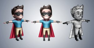3d super hero cartoon character model