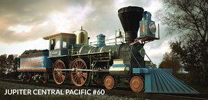central jupiter steam locomotive 3d obj