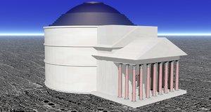 3d obj ancient roman pantheon