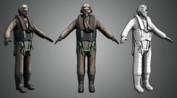 world war pilot 3d model
